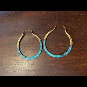 Anthropologie Gold and Turquoise Hoop Earrings